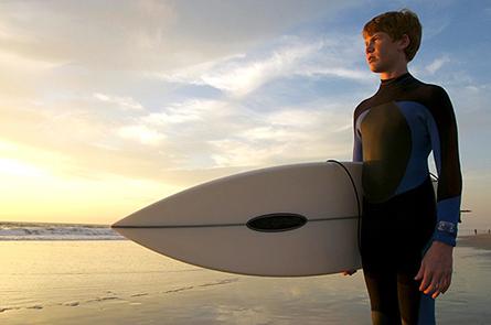surfer afternoon light